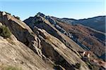 Scenic view of the smooth, sandstone rocks of the mountain village of Castelmezzano, Lucanian Dolomites, Basilicata, Italy