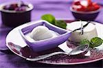 Lemon sorbet and panna cotta
