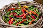 Fresh chillis in a basket