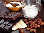 Almonds, hazelnuts, chocolate, sugar and cream