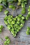 Hops umbels inside a heart-shaped cutter