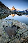 The Matterhorn reflected in Lake Stellisee at dawn, Zermatt, Pennine Alps, Canton of Valais, Swiss Alsp, Switzerland, Europe