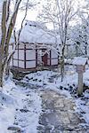 Nio-mon gate in snow, Jojakko-ji Temple, Sagano, Kyoto, Japan