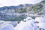 Sogenchi Garden in snow, Tenryu-ji Temple, Sagano, Arashiyama, Kyoto, Japan