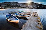 Boats in the harbour on Lake Titicaca at Challapampa village, Isla del Sol (Island of the Sun), Bolivia, South America