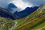 Mountain scenery in the Unterengadin, Engadine, Graubunden, Switzerland, Europe