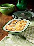 Cauliflower cheese in metal dish