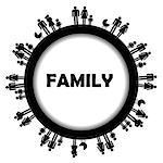 Round frame with family simbols