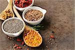 Super food - goji berries, chia seeds, flax seeds, walnuts and omega-3 capsules
