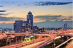 Haneda Airport buildings and roads in Tokyo, Japan.