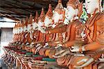 Line of seated Buddhas at the Maha Bodhi Ta Htaung monastery, Monywa township, Sagaing Division, Myanmar (Burma), Asia
