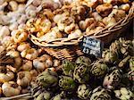 Artichoke and Garlic on a market display