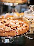 Cake on cake stand with cake server