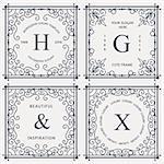 Monogram luxury logo template with flourishes calligraphic ornament elements. Elegant design for cafe, restaurant, heraldic, jewelry, fashion