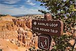 Navajo loop sign in Bryce Canyon National Park, Utah, USA