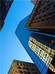 Looking up through Boston skyscrapers, Boston, Massachusetts, New England, United States of America, North America