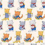 Seamless pattern - funny cartoon kittens. Vector illustration.