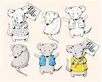 Illustration of funny cartoon mice. Hand-drawn illustration. Vector.
