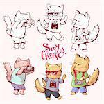 Illustration of funny cartoon cats photographers. Hand-drawn illustration.  Vector set.