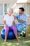 Nurse speaking to a senior woman