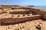 Sumhuram ruins overlooking Khor Rori (Rouri), Land of Frankincense UNESCO World Heritage Site, near Salalah, Dhofar Region, Oman, Middle East
