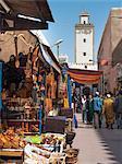 Grand Mosque and street scene in the Medina, Essaouira, Morocco, North Africa, Africa