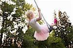 Baby girl swinging on park swing, rear view