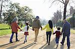 Rear view of multi generation family walking in park