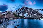 Beautiful vivid sunset at Big Virginia Lake, Eastern Sierra Nevada. California, USA