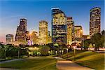 Houston, Texas, USA park and downtown skyline.