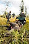 Men at hunting with dead elk