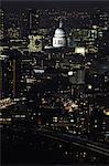 Aerial view of St Pauls at night,  London, UK