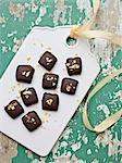 Chocolates on white board