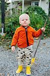 Boy with rake