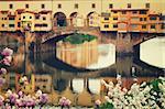 famous bridge Ponte Vecchio close up over river Arno at spring, Florence, Italy, retro toned