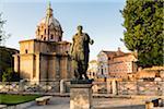 Bronze Statue of Caesar in front of Santi Luca e Martina, Fourm of Caesar, Forum Romanum, UNESCO World Heritage Site, Rome, Italy