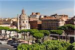 Elevated view of the Dome of Santissimo Nome di Maria al Foro Traiano, UNESCO World Heritage Site, Rome, Italy