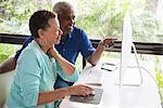 Senior couple sitting at table, using computer