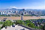 Zhongshan bridge on Yellow river(Huanghe) view from Baitashan park, Skyline of Lanzou, Gansu Province, silk road,  PRC