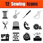 Set of twelve sewing  black icons. Vector illustration.