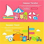 Summer Travel Vacation Flat Website Banners Set. Vector Illustration for Website banner and landing page. Summertime and Beach Resort Modern Design.