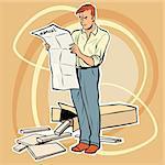 man manual assembling furniture. The toy designer. Furniture Assembly