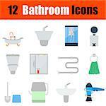 Flat design bathroom icon set in ui colors. Vector illustration.
