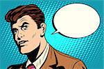 man asks retro comic bubble pop art retro style. Business dialogue. Business vector