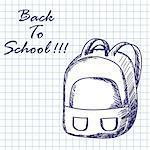 School backpack. Doodle sketch on checkered paper background. Vector illustration.