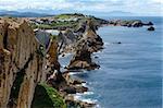 Atlantic ocean rocky coastline near Portio Beach, (Pielagos, Cantabria, Spain)