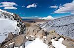 Rocks on snowy mountains