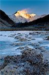 Mountains overlooking frozen valley