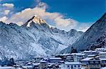 Mountain overlooking snowy village