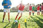 Girls soccer team training